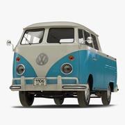 Volkswagen Type 2 Dubbele cabine Pick-up Eenvoudig interieur Blauw 2 3d model