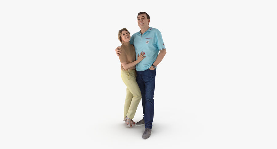 Couple Family royalty-free 3d model - Preview no. 2