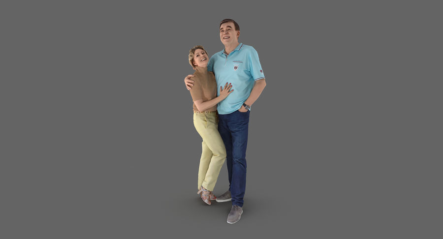 Couple Family royalty-free 3d model - Preview no. 3