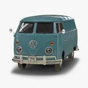 Volkswagen Tipo 2 Panel Van Simple Interior Azul Modelo 3D modelo 3d