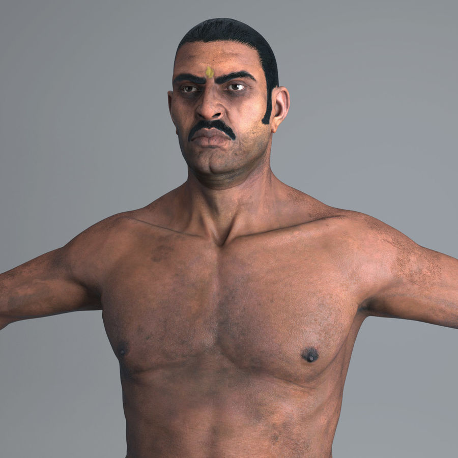 Character Indian Man Full Body royalty-free 3d model - Preview no. 3