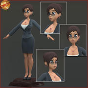 Kobieta kreskówka biznes 3d model