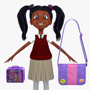 Girl Student 2c (sweter kamizelka) 3d model