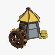 Cartoon water mill 3d model