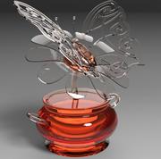butterfly on a flower 3d model