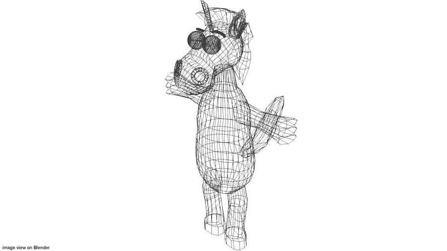 漫画の動物の馬 royalty-free 3d model - Preview no. 4