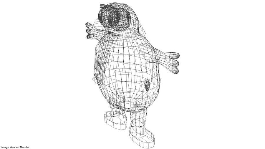 漫画の動物の象 royalty-free 3d model - Preview no. 4