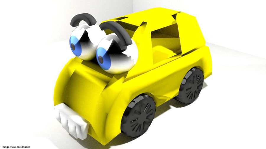 Tecknad fordon - bil royalty-free 3d model - Preview no. 1