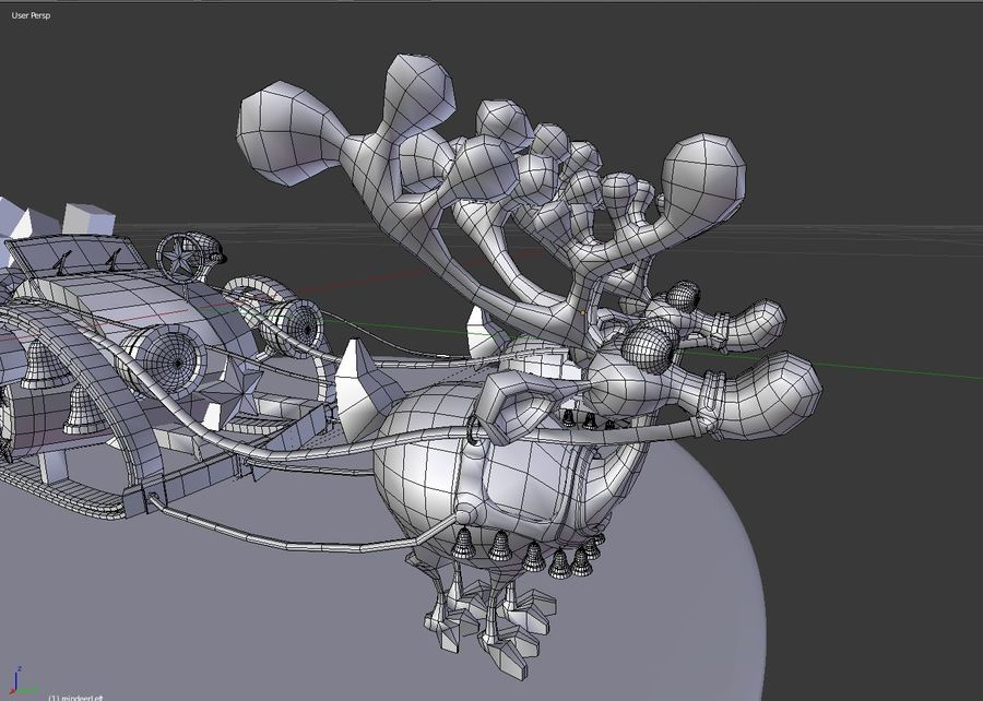 Сани Дед Мороз с оленями royalty-free 3d model - Preview no. 4