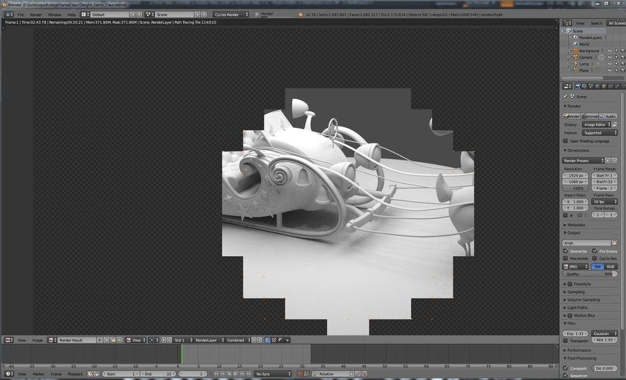 トナカイとそりサンタクロース royalty-free 3d model - Preview no. 1