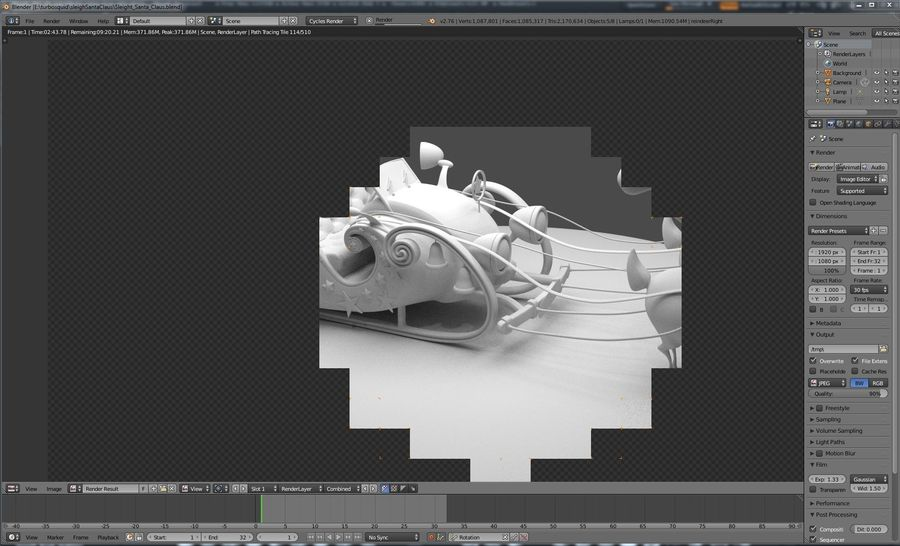 Сани Дед Мороз с оленями royalty-free 3d model - Preview no. 2