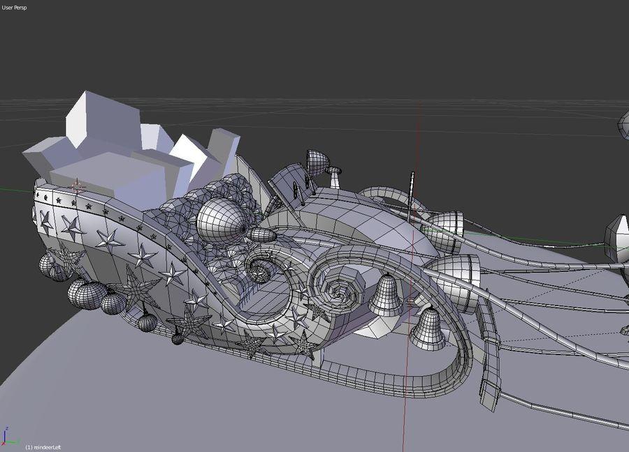 Сани Дед Мороз с оленями royalty-free 3d model - Preview no. 5