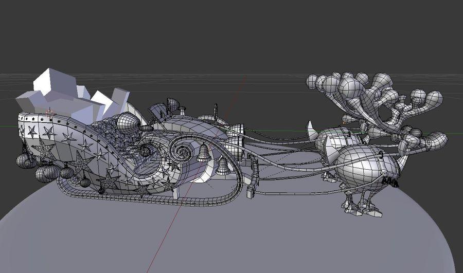 Сани Дед Мороз с оленями royalty-free 3d model - Preview no. 7