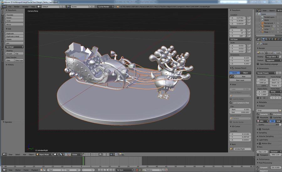 Сани Дед Мороз с оленями royalty-free 3d model - Preview no. 3