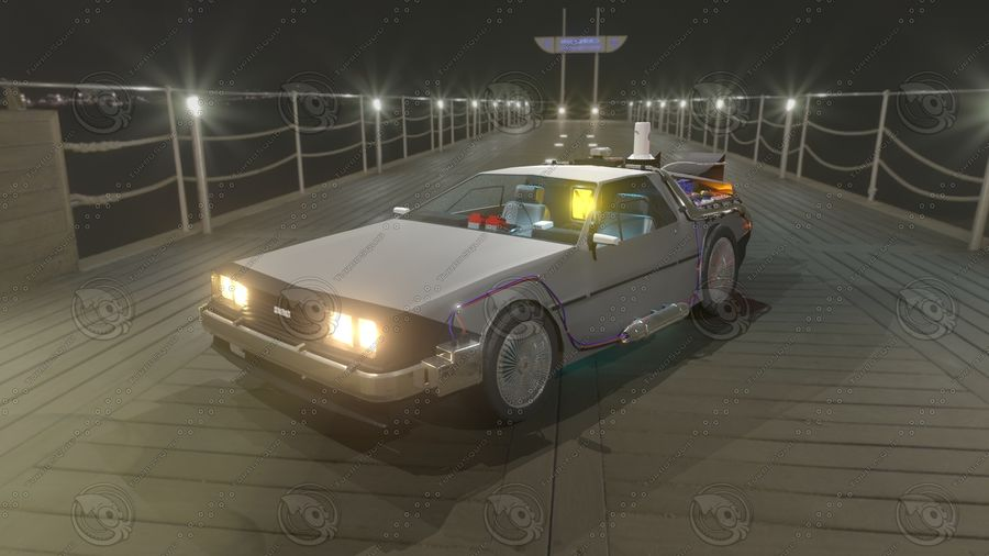 Delorean dmc-12 Back to the Future royalty-free 3d model - Preview no. 1