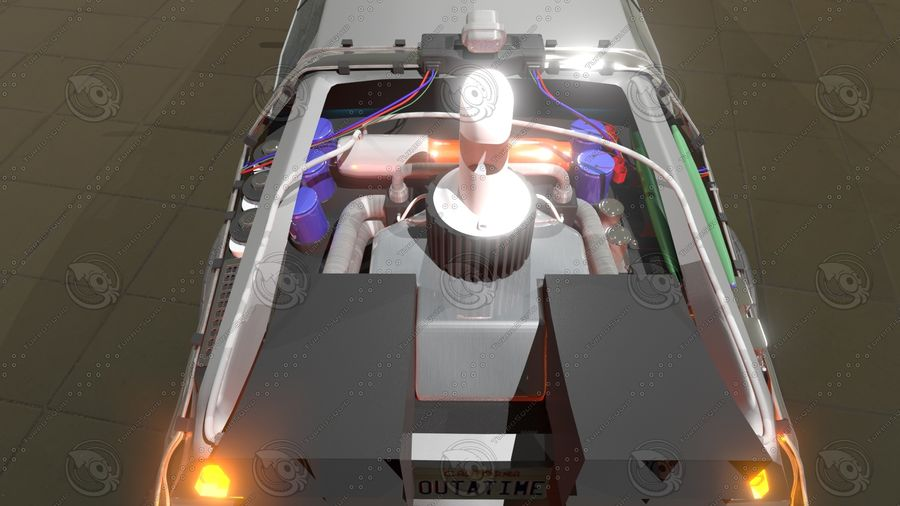 Delorean dmc-12 Back to the Future royalty-free 3d model - Preview no. 2