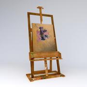 絵で汚いイーゼルの画家 3d model