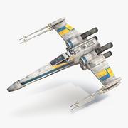 Star Wars X-Wing Starfighter och R2D2 Rigged Blue 3d model