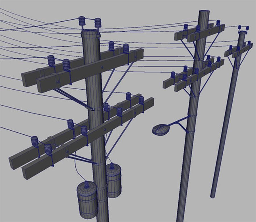 Электрический столб Деревянная КОЛЛЕКЦИЯ royalty-free 3d model - Preview no. 4