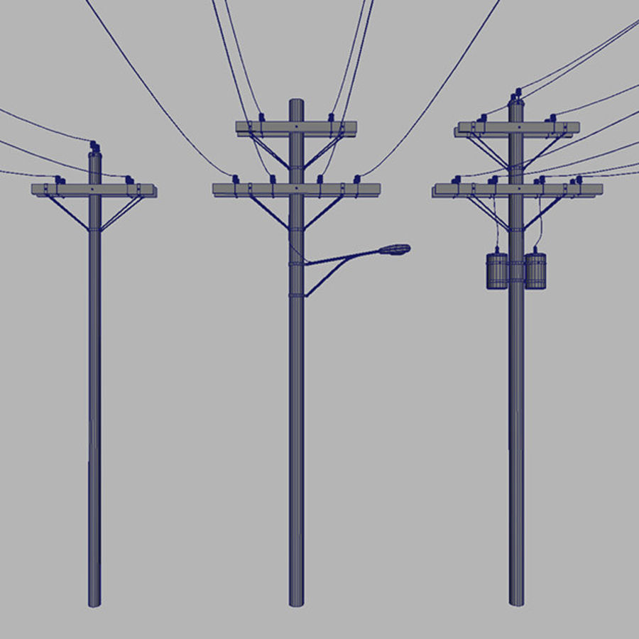 Electric Pole Wooden COLLECTION royalty-free 3d model - Preview no. 5