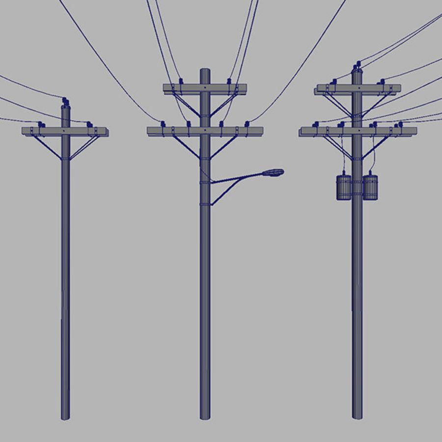Электрический столб Деревянная КОЛЛЕКЦИЯ royalty-free 3d model - Preview no. 5