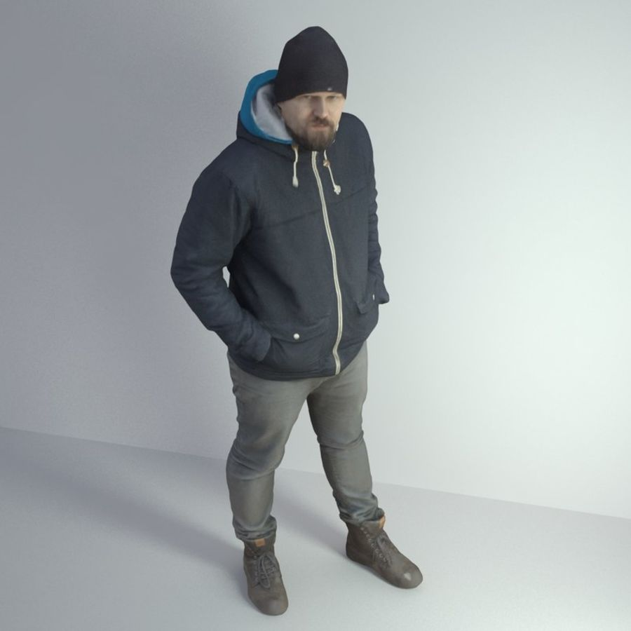 3D Scan Man Winter 001 royalty-free 3d model - Preview no. 6