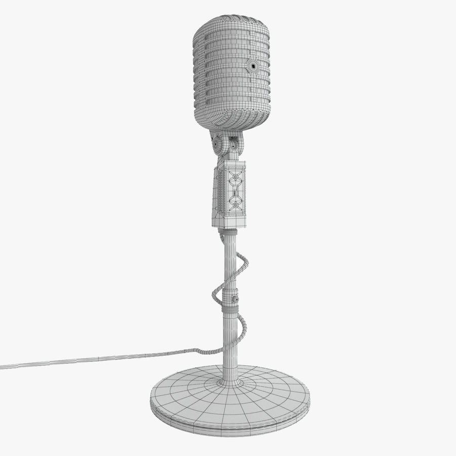 Retro microfoon royalty-free 3d model - Preview no. 6