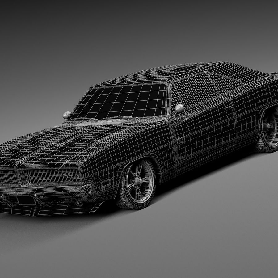 Dodge Charger Pro Touring 1968-1969 royalty-free 3d model - Preview no. 17