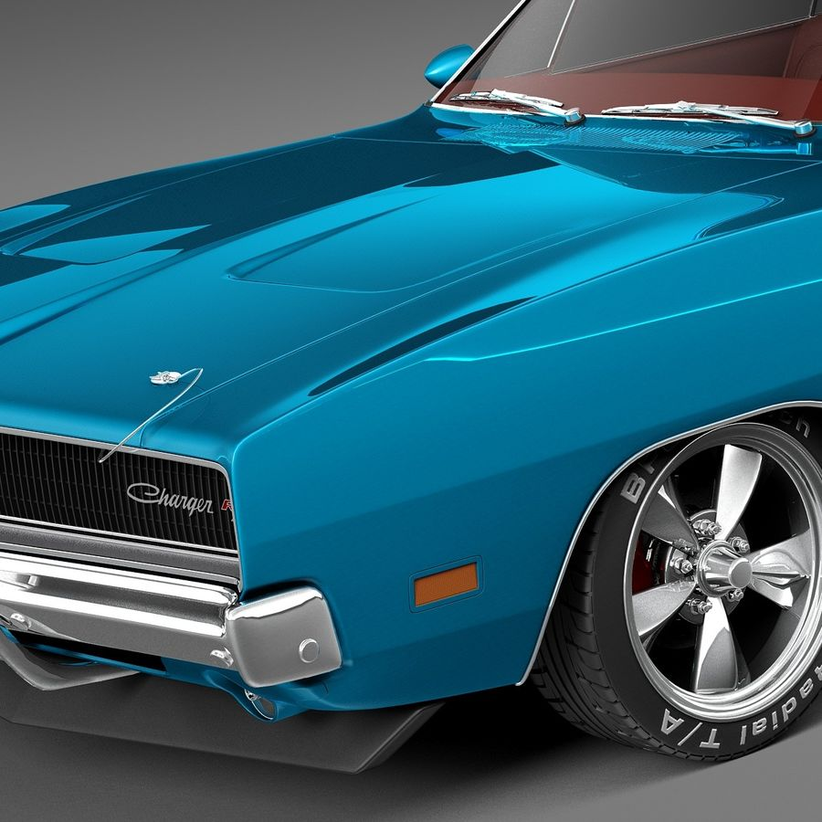 Dodge Charger Pro Touring 1968-1969 royalty-free 3d model - Preview no. 3