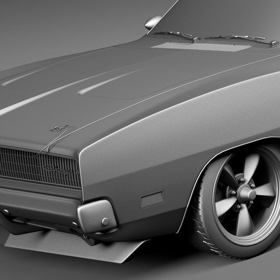 Dodge Charger Pro Touring 1968-1969 royalty-free 3d model - Preview no. 12