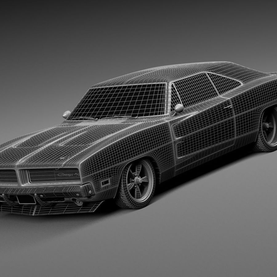 Dodge Charger Pro Touring 1968-1969 royalty-free 3d model - Preview no. 15