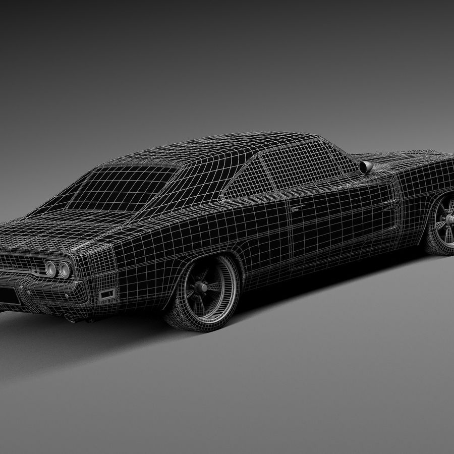 Dodge Charger Pro Touring 1968-1969 royalty-free 3d model - Preview no. 18