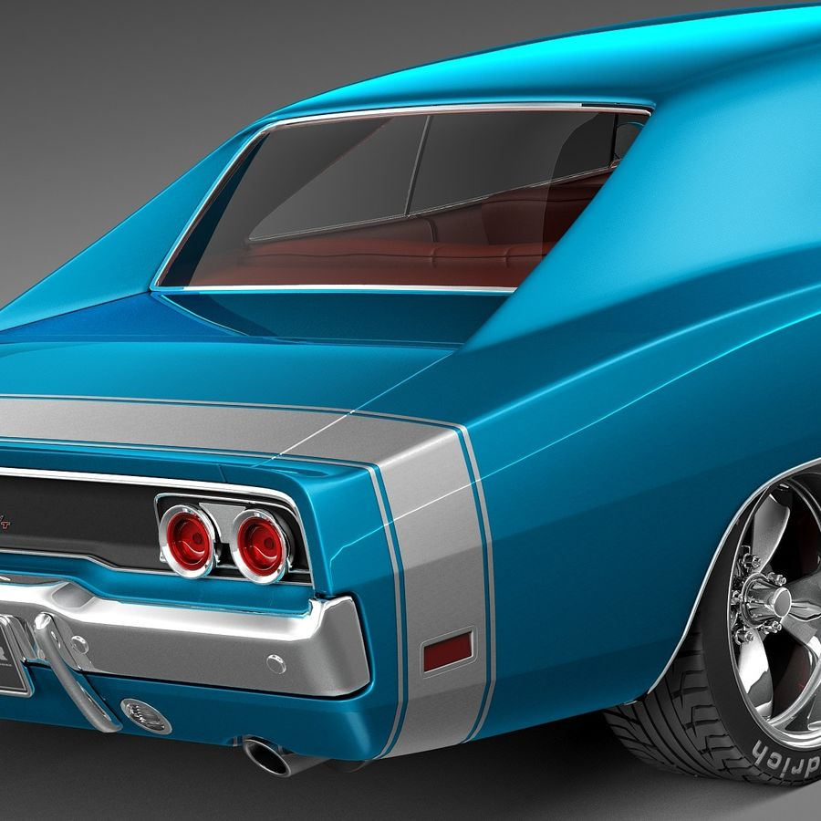 Dodge Charger Pro Touring 1968-1969 royalty-free 3d model - Preview no. 4