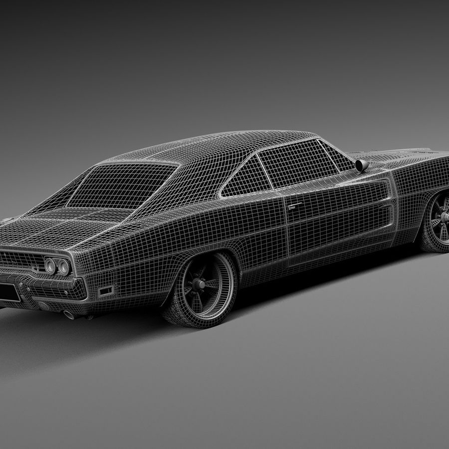 Dodge Charger Pro Touring 1968-1969 royalty-free 3d model - Preview no. 16