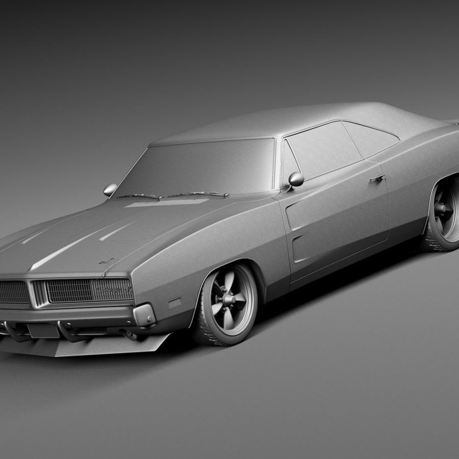 Dodge Charger Pro Touring 1968-1969 royalty-free 3d model - Preview no. 11