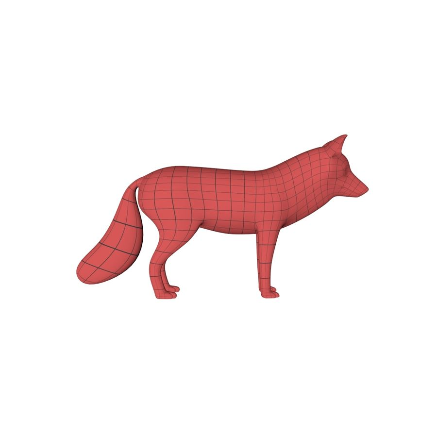 Fox base mesh royalty-free 3d model - Preview no. 2