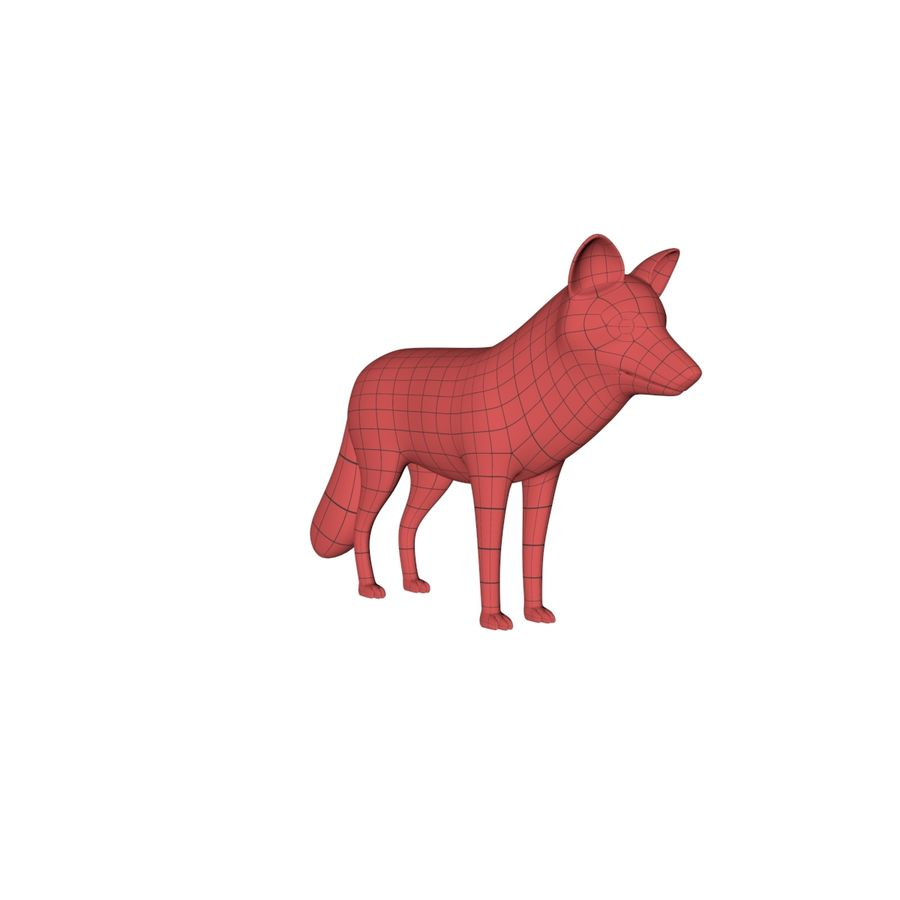 Fox base mesh royalty-free 3d model - Preview no. 3