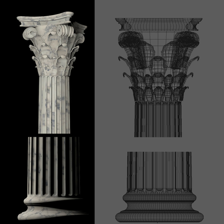 Korintisk kolumn 8 royalty-free 3d model - Preview no. 2