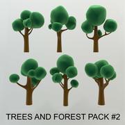 Árboles de dibujos animados y paquete de bosque # 2 de alta calidad (paquete AB) modelo 3d