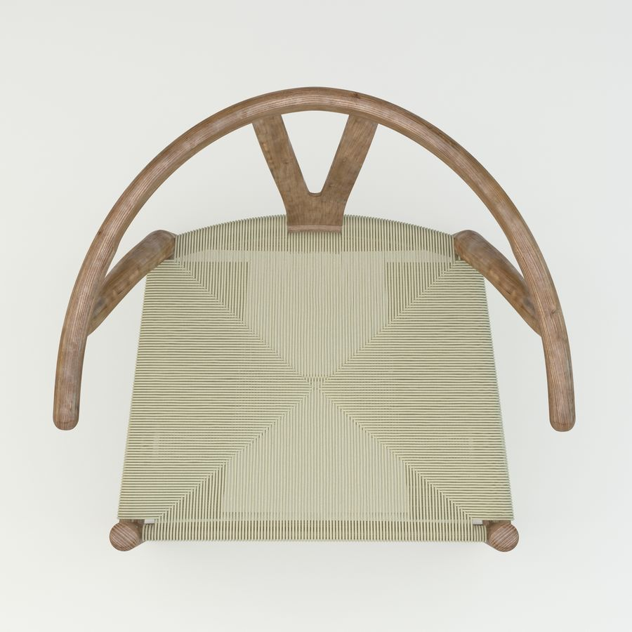 Den högkvalitativa skandinaviska Wishbone Chair CH24 High Poly-modellen i Brown Wood royalty-free 3d model - Preview no. 6