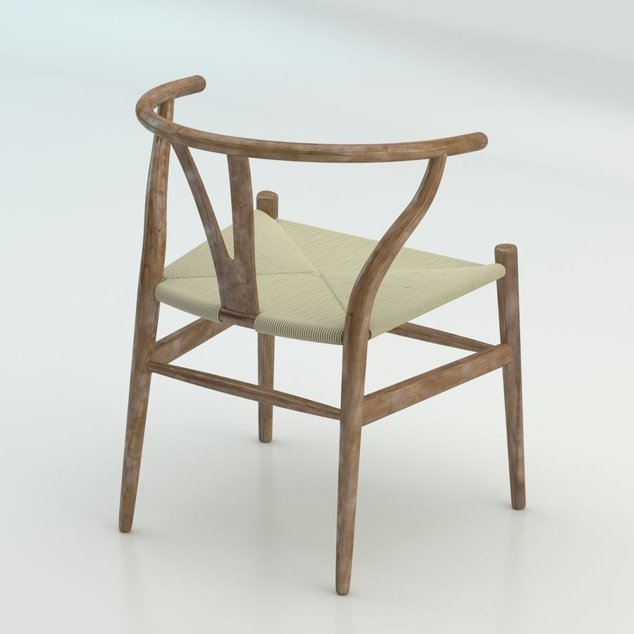 Den högkvalitativa skandinaviska Wishbone Chair CH24 High Poly-modellen i Brown Wood royalty-free 3d model - Preview no. 2