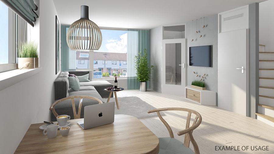 Den högkvalitativa skandinaviska Wishbone Chair CH24 High Poly-modellen i Brown Wood royalty-free 3d model - Preview no. 11