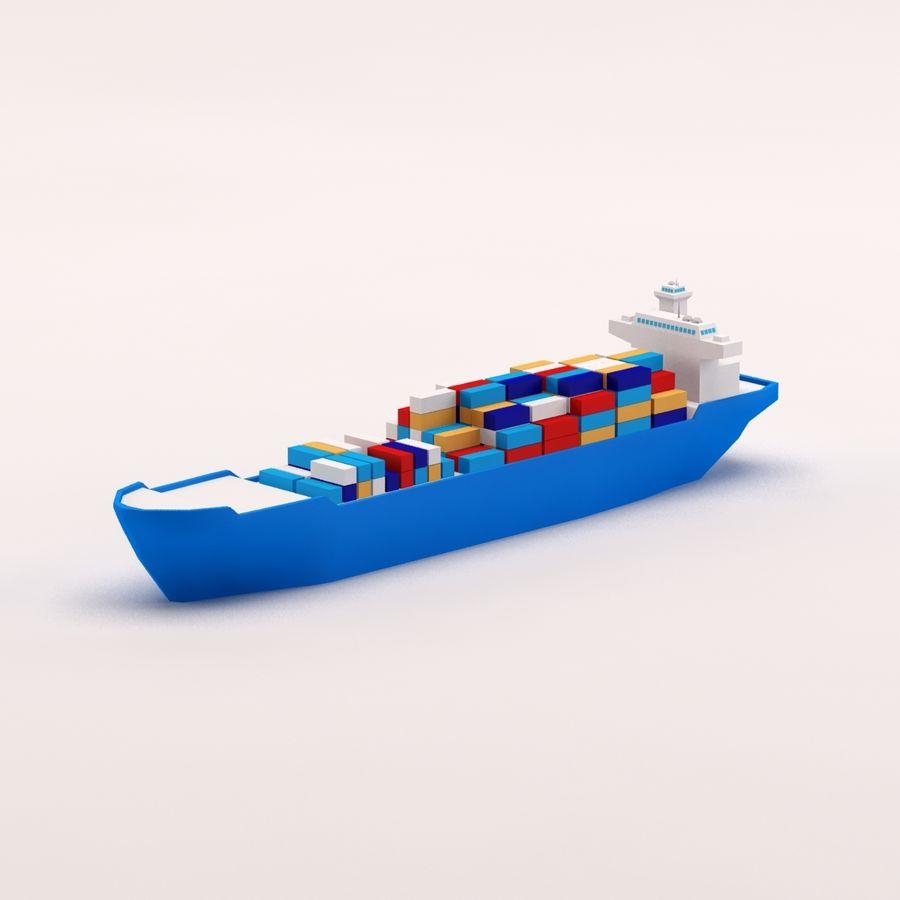 Мультяшный низкополигональный грузовой корабль royalty-free 3d model - Preview no. 3