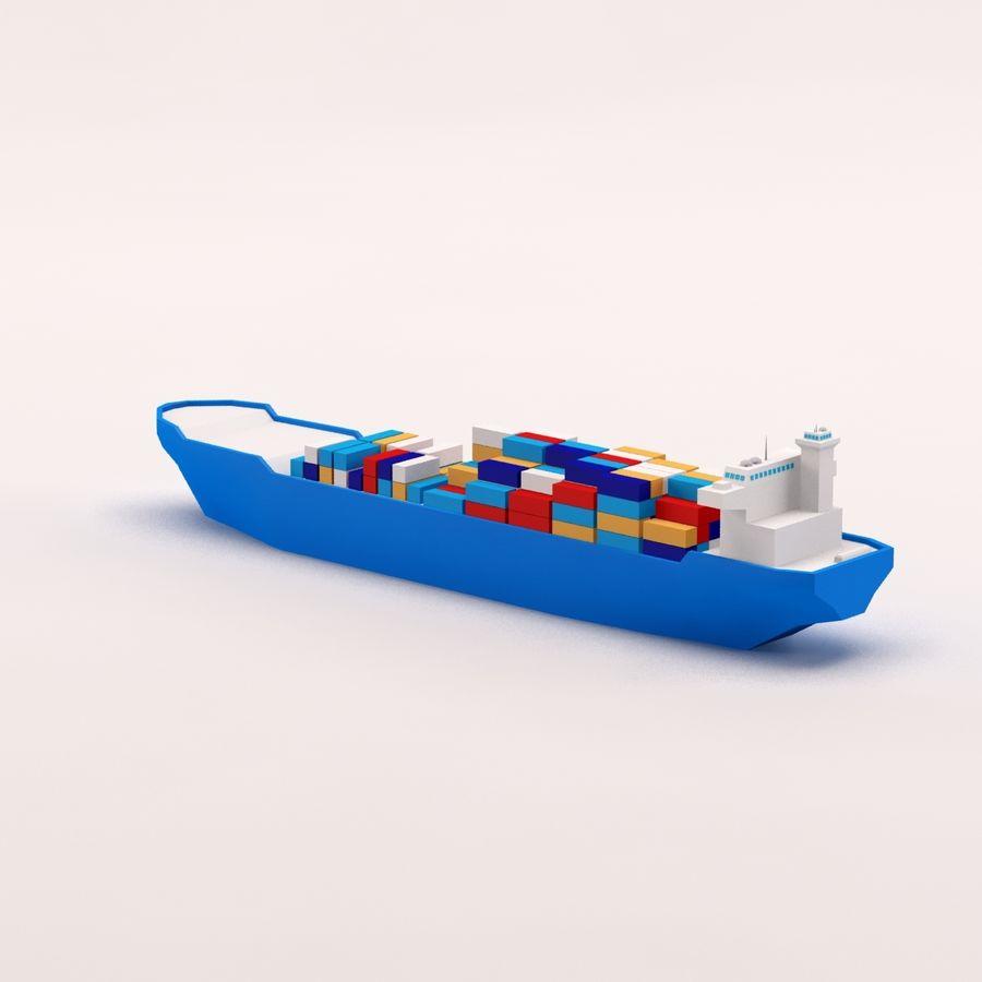 Мультяшный низкополигональный грузовой корабль royalty-free 3d model - Preview no. 5