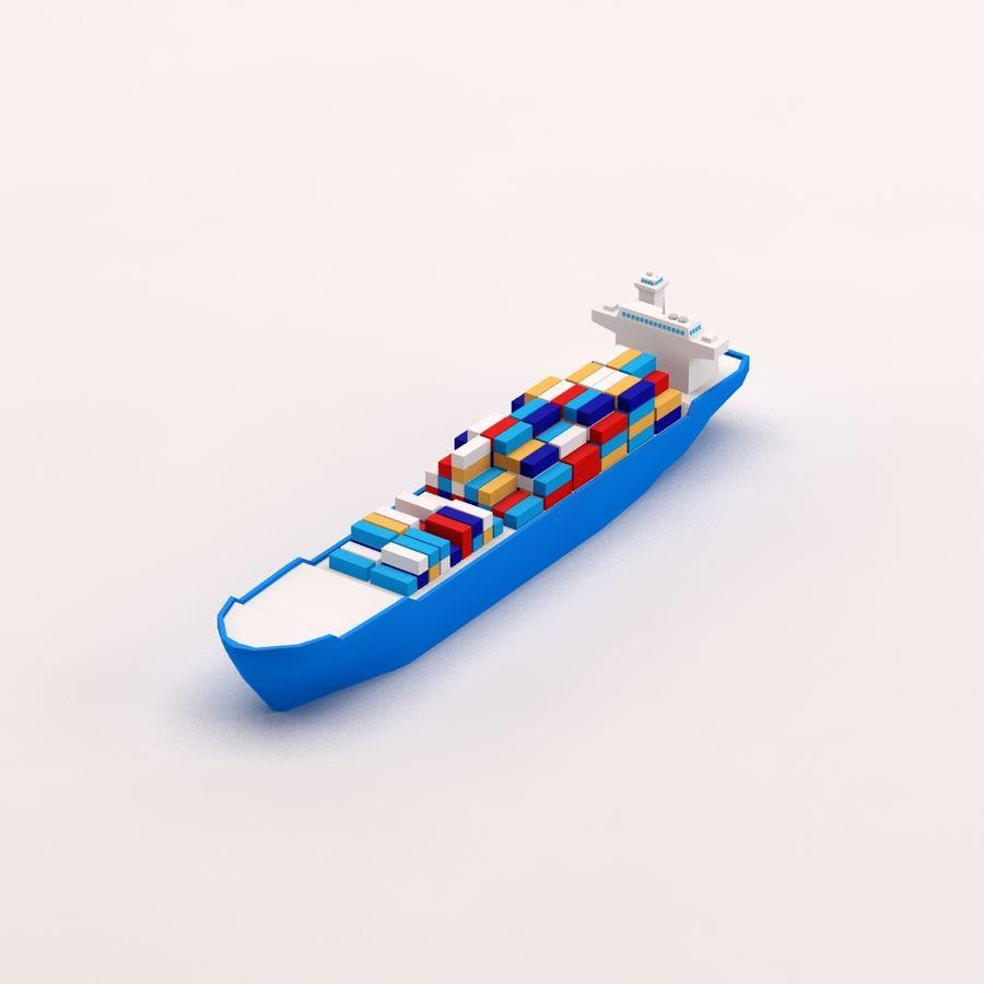 Мультяшный низкополигональный грузовой корабль royalty-free 3d model - Preview no. 10