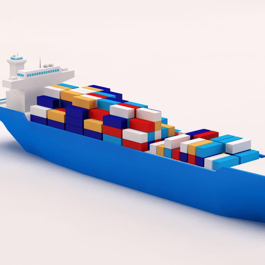 Мультяшный низкополигональный грузовой корабль royalty-free 3d model - Preview no. 7