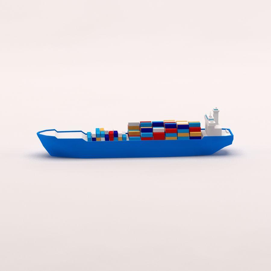 Мультяшный низкополигональный грузовой корабль royalty-free 3d model - Preview no. 4