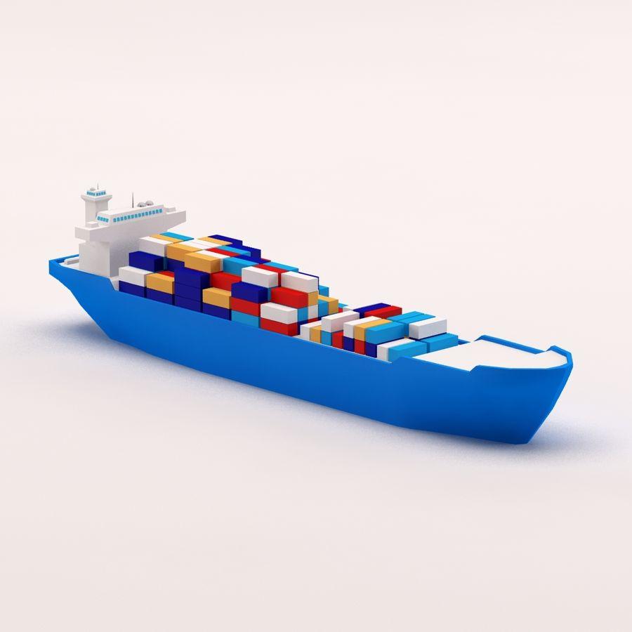 Мультяшный низкополигональный грузовой корабль royalty-free 3d model - Preview no. 1