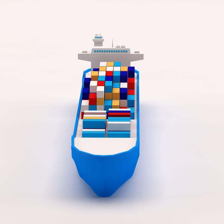 Мультяшный низкополигональный грузовой корабль royalty-free 3d model - Preview no. 2