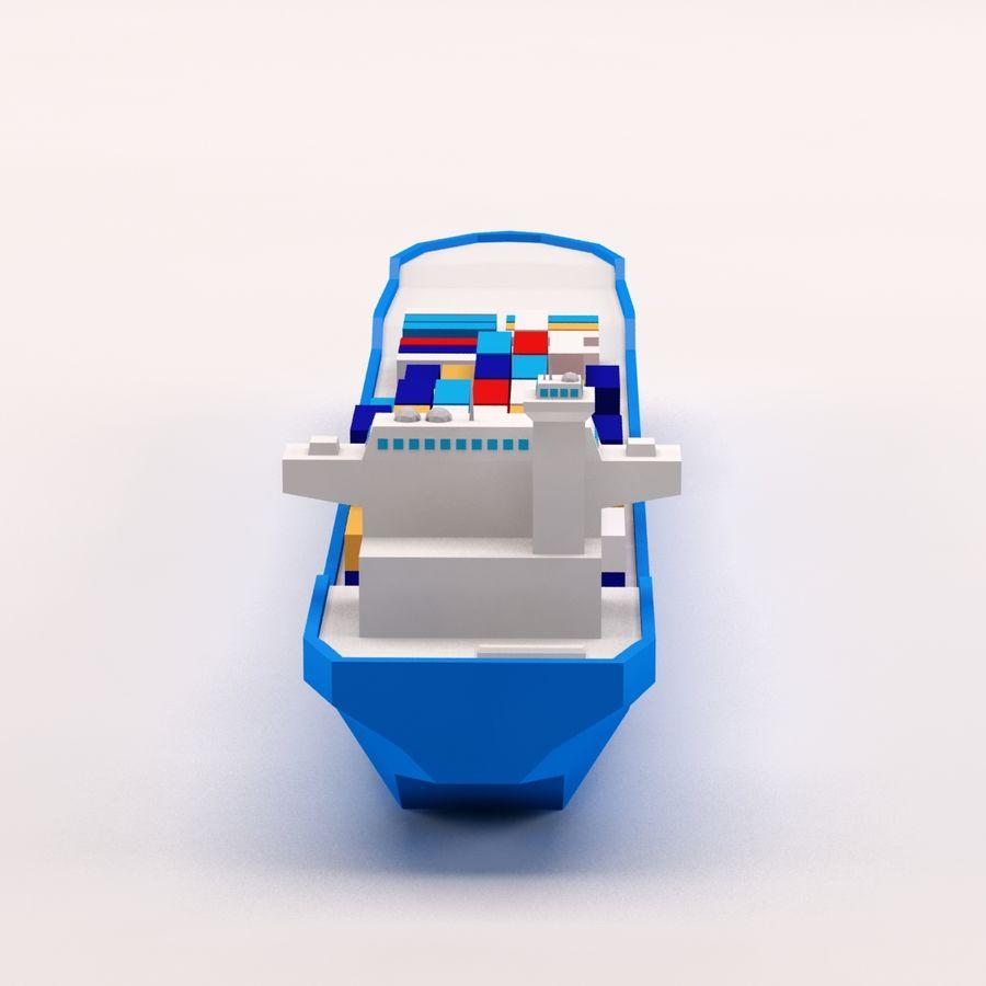 Мультяшный низкополигональный грузовой корабль royalty-free 3d model - Preview no. 6